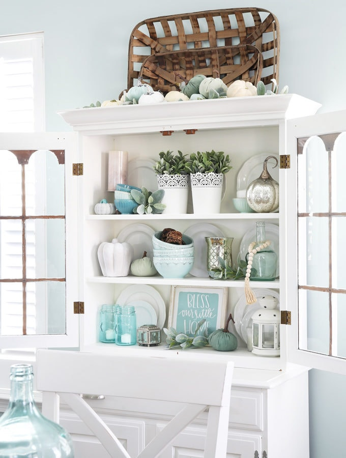 Dining Room Hutch Decorated in Aqua and White for Fall
