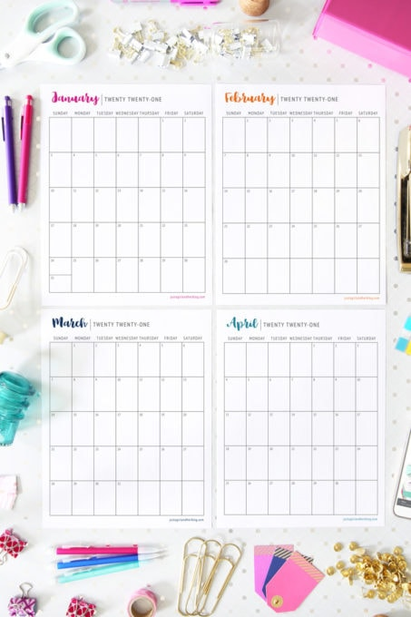 2021 Printable Calendar, Portrait Orientation, Sunday Start