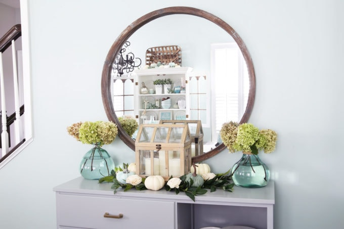 Sideboard with Fall Vignette