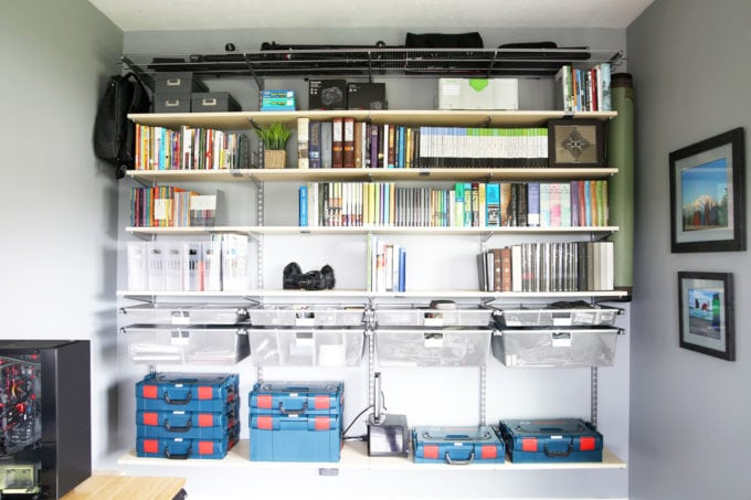 Elfa System from The Container Store Used to Organize a Home Office