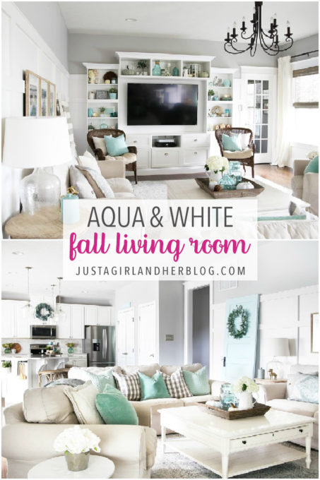 Aqua and White Fall Living Room