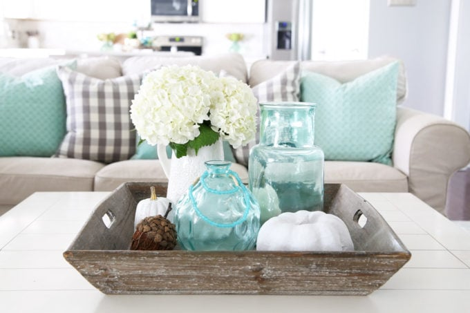 Living room coffee table fall centerpiece