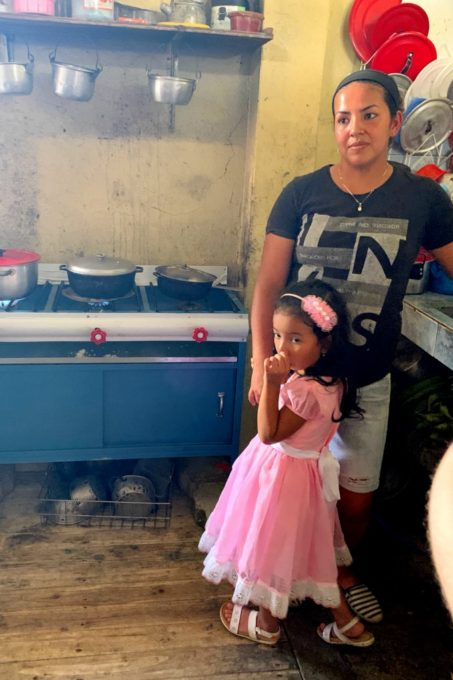 Mother and daughter in their kitchen in rural Ecuador
