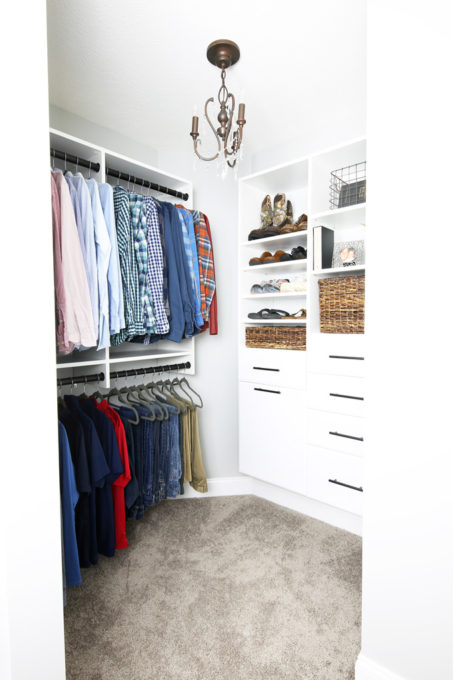 Men's Clothes Organized with a Closet System from EasyClosets