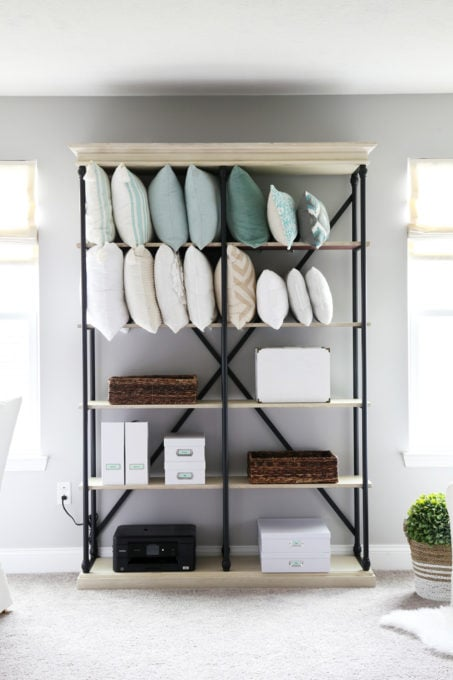 Etagere Used to Organize Pillows and Office Supplies