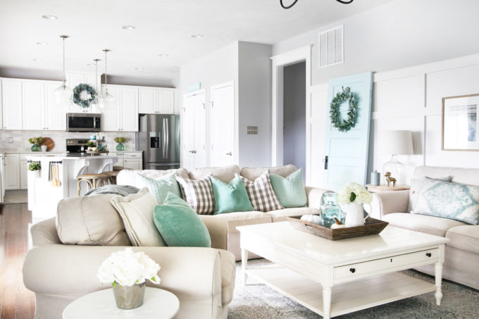 Fall living room decorated with aqua, white, and neutrals