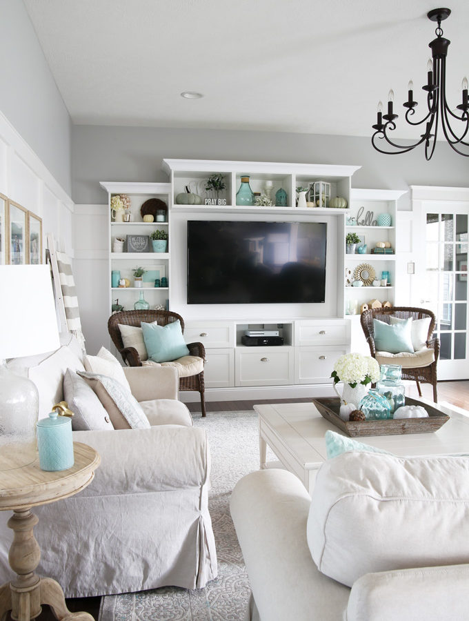 Aqua and White Fall Living Room Decor