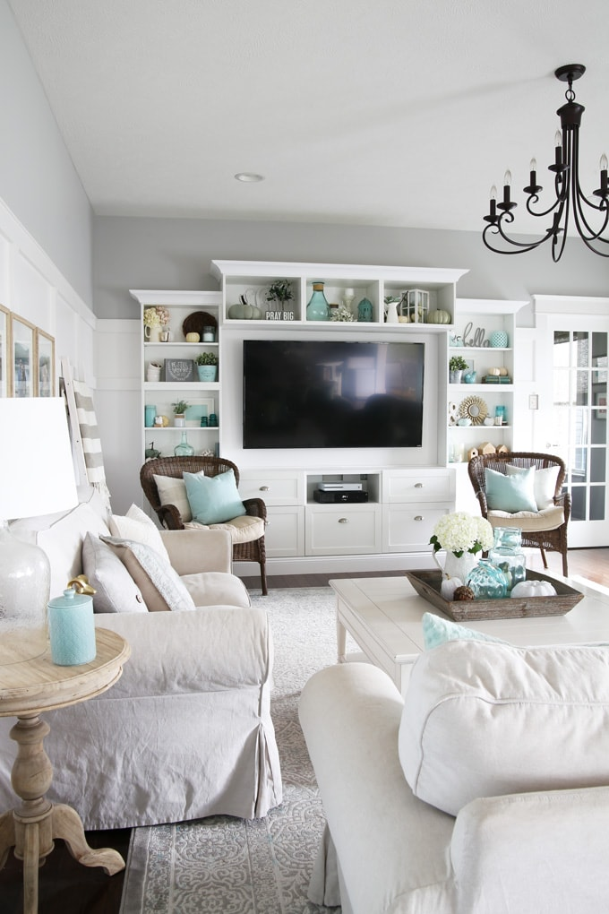 Aqua And White Fall Living Room Decor Abby Lawson