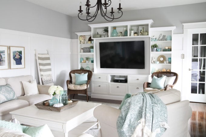 Fall living room decor with aqua, white, and neutrals