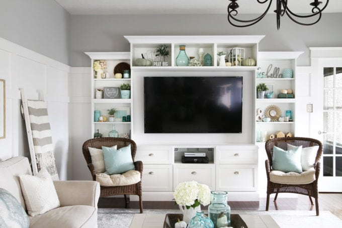 IKEA BESTA entertainment center in an aqua and white fall living room