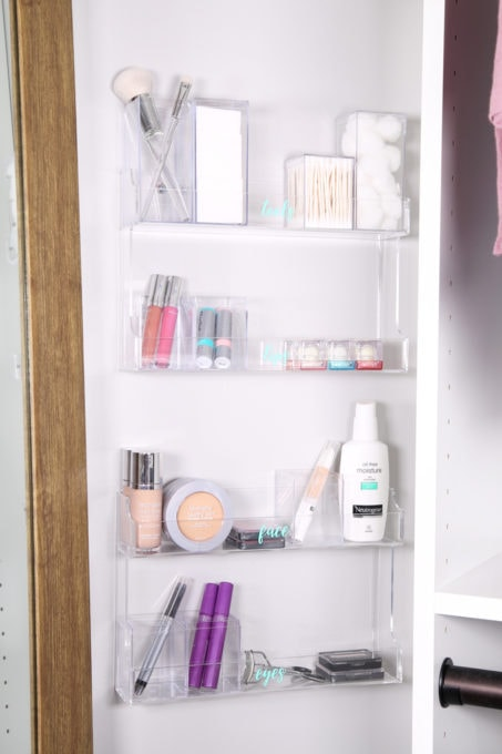 Acrylic Spice Racks Used to Organize Makeup in a Master Closet