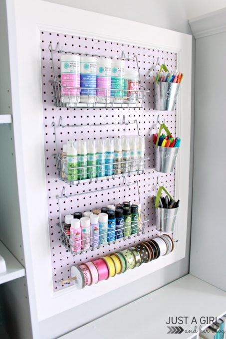 Pegboard with Organized Craft Supplies