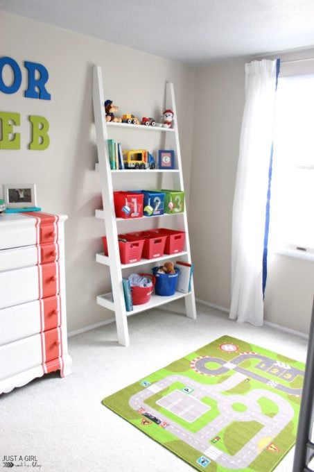 Ladder Shelf in Organized Boys' Bedroom