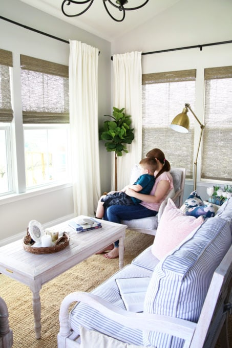 mother and son in organized sunroom