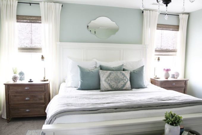 Aqua, White, and Gray Master Bedroom