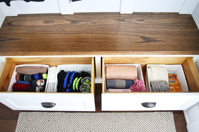 Organized Drawers with Hats, Gloves, and Scarves