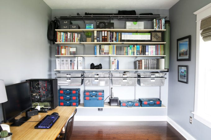 Elfa Shelving System in an Organized Home Office, Office Storage Solutions