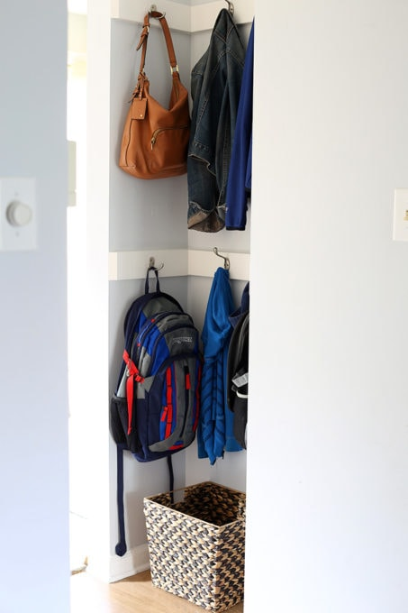 Organized Mini Mudroom in Entry