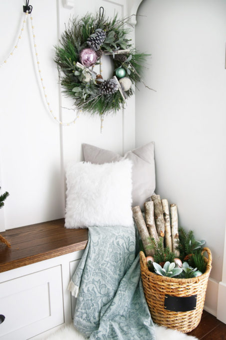 Christmas Wreath and Basket in Mudroom