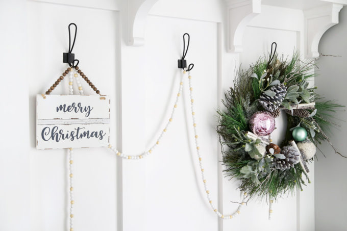 Wreath and Merry Christmas Sign in Mudroom