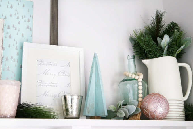 Pastel Christmas Mudroom Decor Details on a Shelf