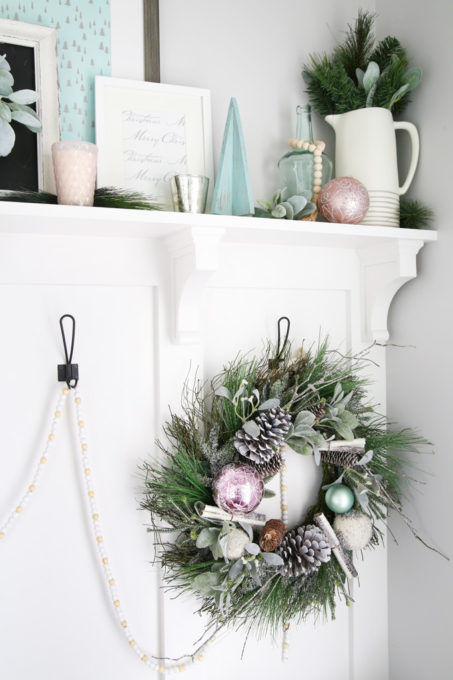Christmas Wreath and Shelf Decor in Mudroom