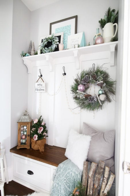 Mudroom Build-ins Decorated for Christmas in a Pastel Color Scheme