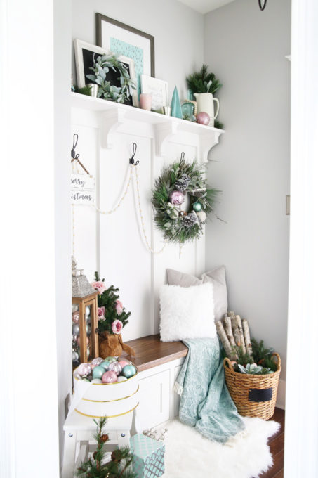 Mudroom Decorated for Christmas in Pastel Colors