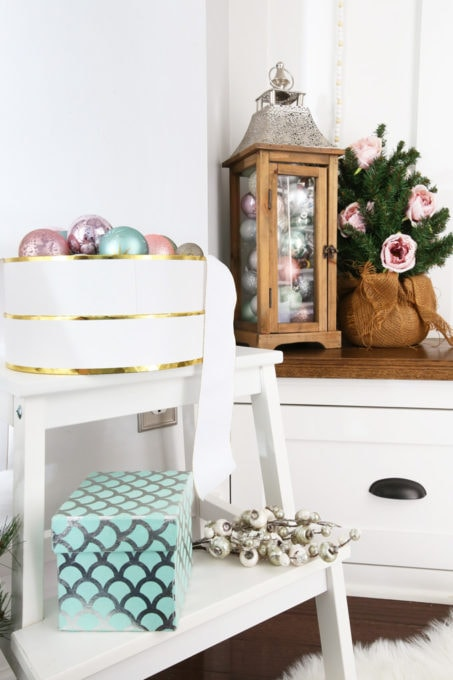 Stool and Lantern with Pastel Christmas Ornaments