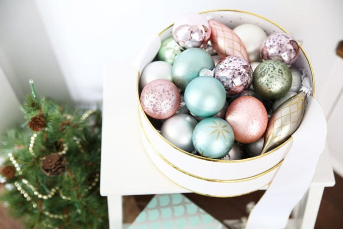 Pastel Christmas Ornaments in a Round Box