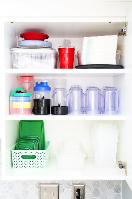 Organized Smoothie Supplies in a White IKEA Kitchen, Small Space Storage Solutions