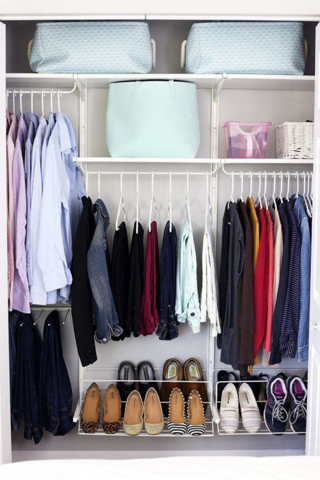Small Master Closet Organized with the IKEA ALGOT System