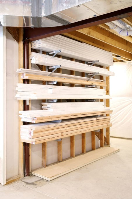 Organized Wood Trim, Storage Solutions for the Basement