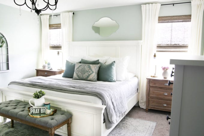 Cozy and Serene Master Bedroom in Aqua, Gray, and White