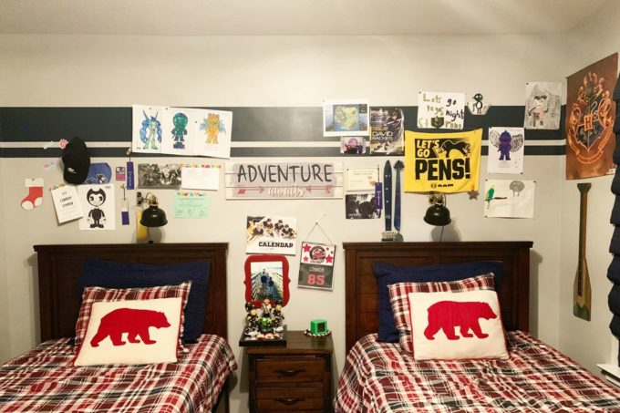 A Shared Boys' Room with Cluttered Walls