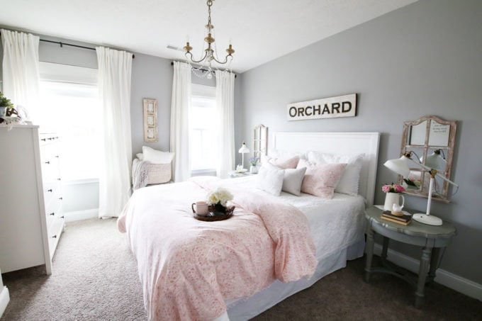 Beautiful, Organized Guest Bedroom in Pink, Gray, and White