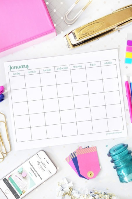Horizontal, Sunday Start, Blank January Calendar Printable