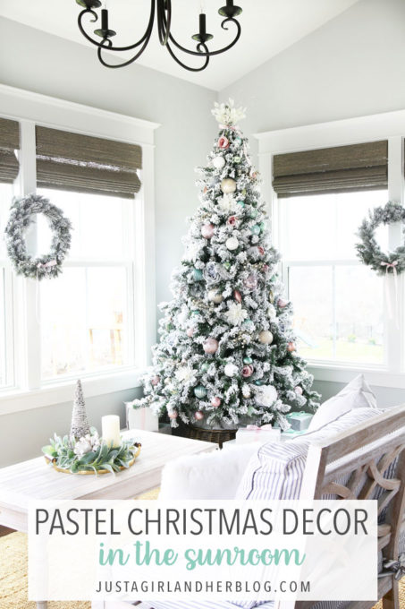 Pastel Christmas Decor in the Sunroom