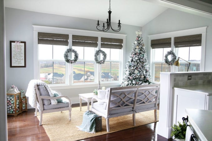 Sunroom Decorated with Pastel Christmas Decor