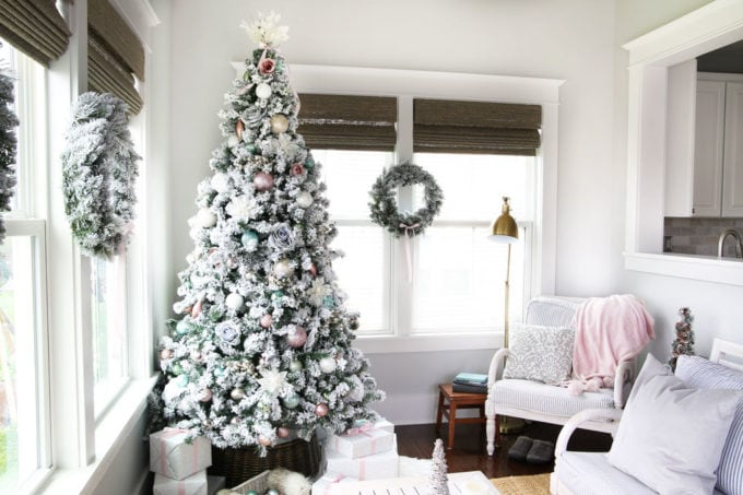 Pastel Christmas Decor in a Sunroom / Morning Room