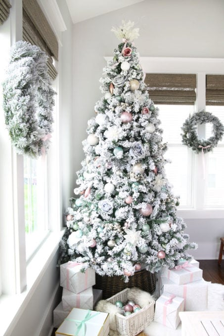 Flocked Christmas Tree and Wreaths with Pastel Decor