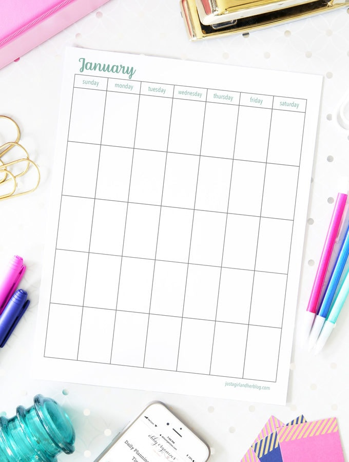 Undated January Calendar, Vertical, Sunday Start, Free Printable