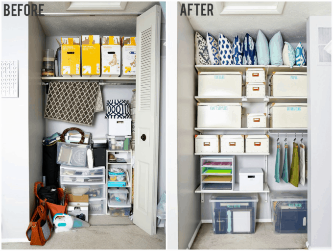 Organized Office Closet Before and After