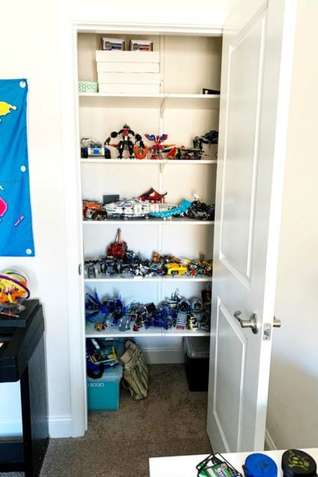Cluttered LEGO Closet Before Photo
