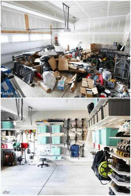 Messy Garage to Organized Garage Before and After Photo
