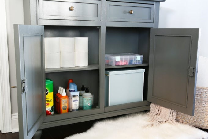 Entry Cabinet with Toilet Paper and Soap