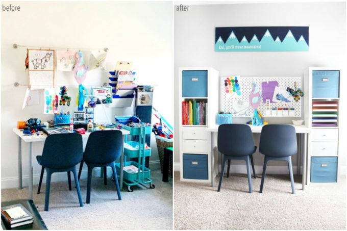Organized Art Station Before and After