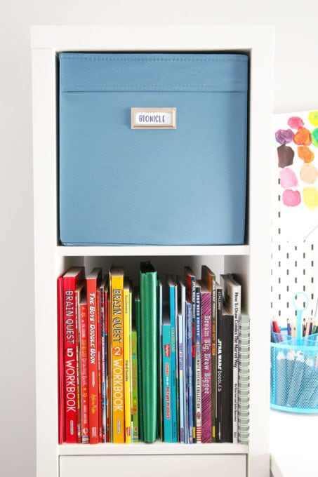 Coloring Books in a Rainbow Pattern and IKEA DRONA Bin with Bookplate Label