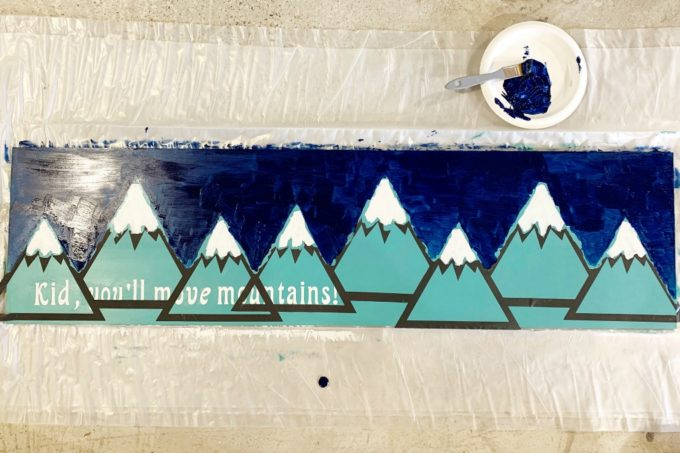 Dark Blue Sky Painted on a Handmade Mountain Sign