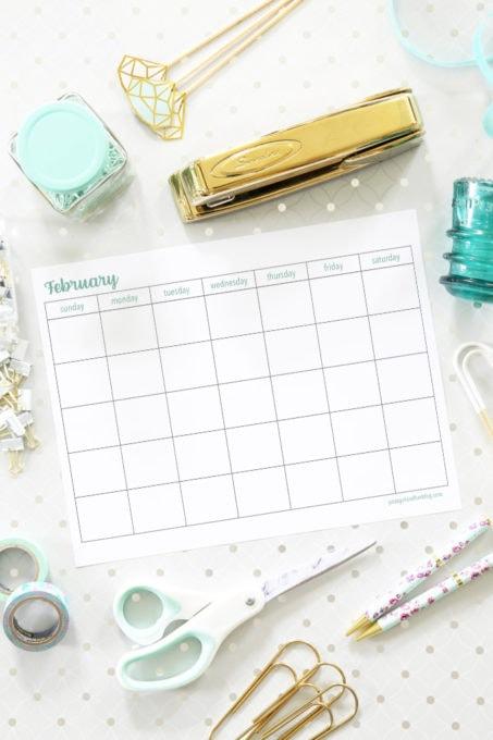 February Calendar Printables